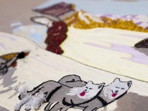 犬の刺繍 リュネビル刺繍で…
