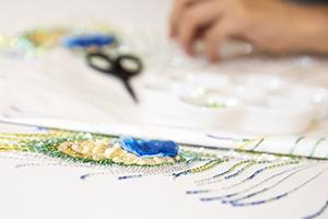 リュネビル 刺繍 オーダー ストール 孔雀 羽