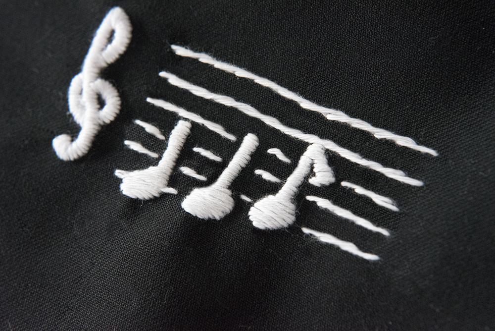 音符 刺繍