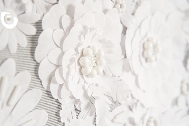 白 お花 刺繍 オートクチュール