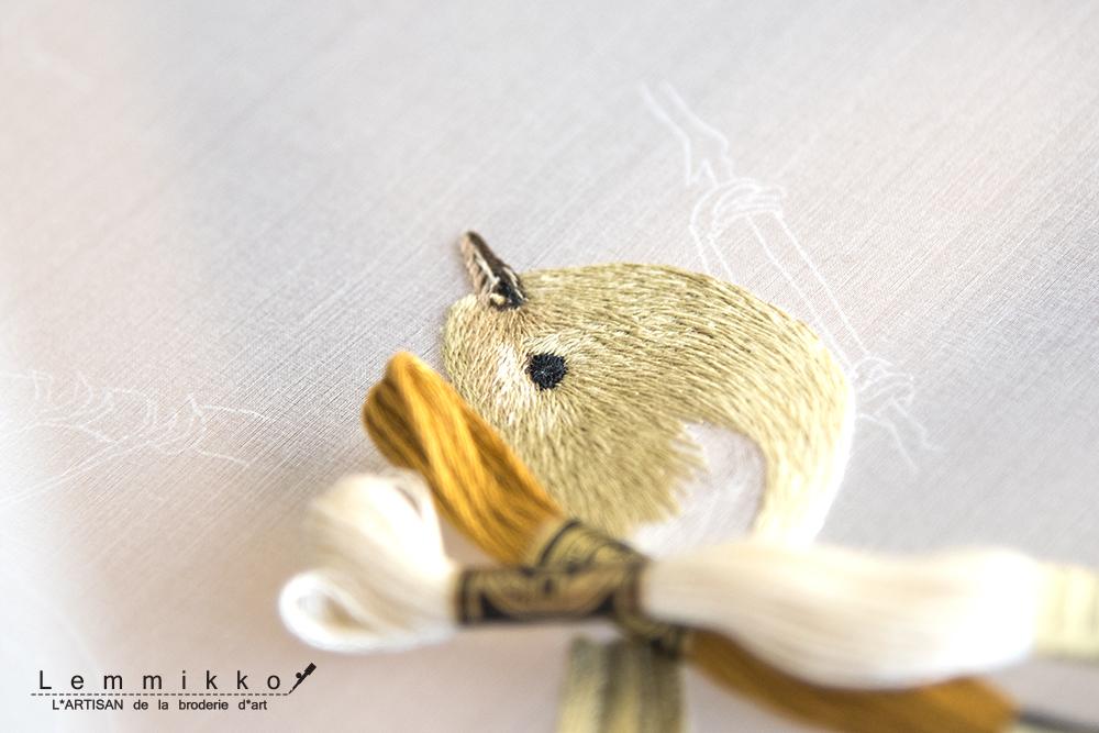 オートクチュール 刺繍 鳥 糸