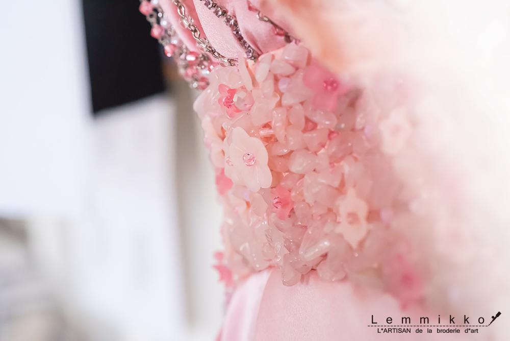 ピンク お花 刺繍