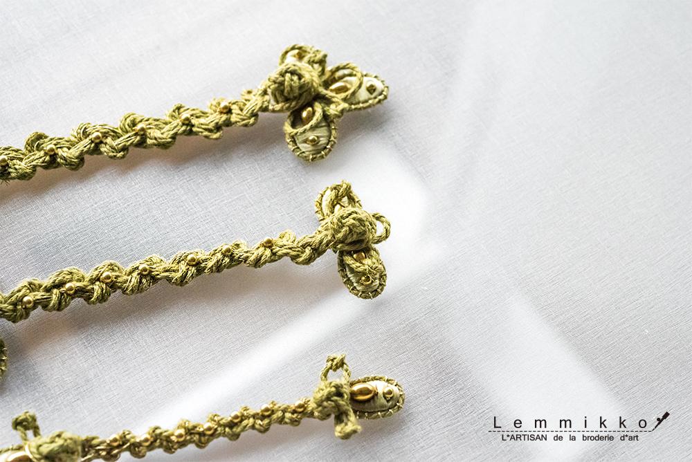 チャイナボタンの刺繍サンプル