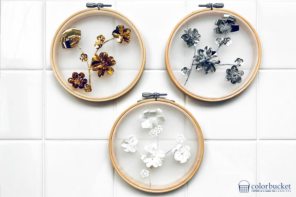 スパンコールで作る花の刺繍