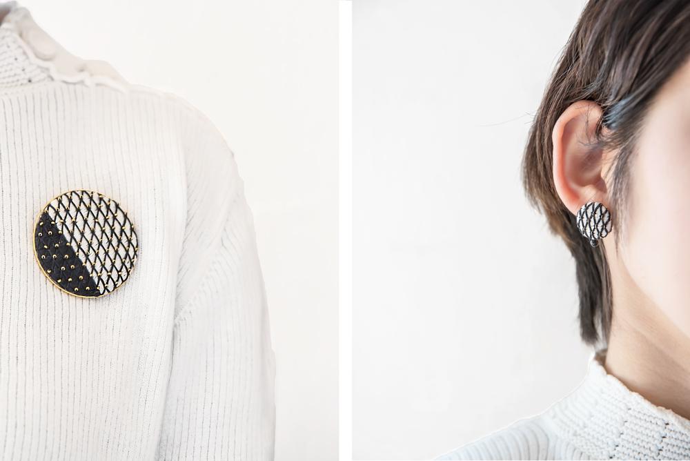 ピアスブローチの刺繍の作り方