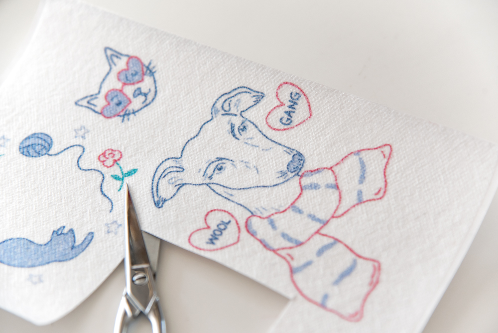 犬の刺繍の簡単