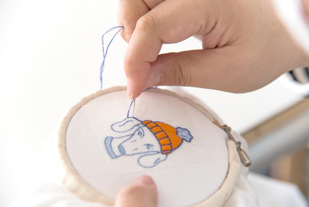 犬の可愛い糸刺繍キット
