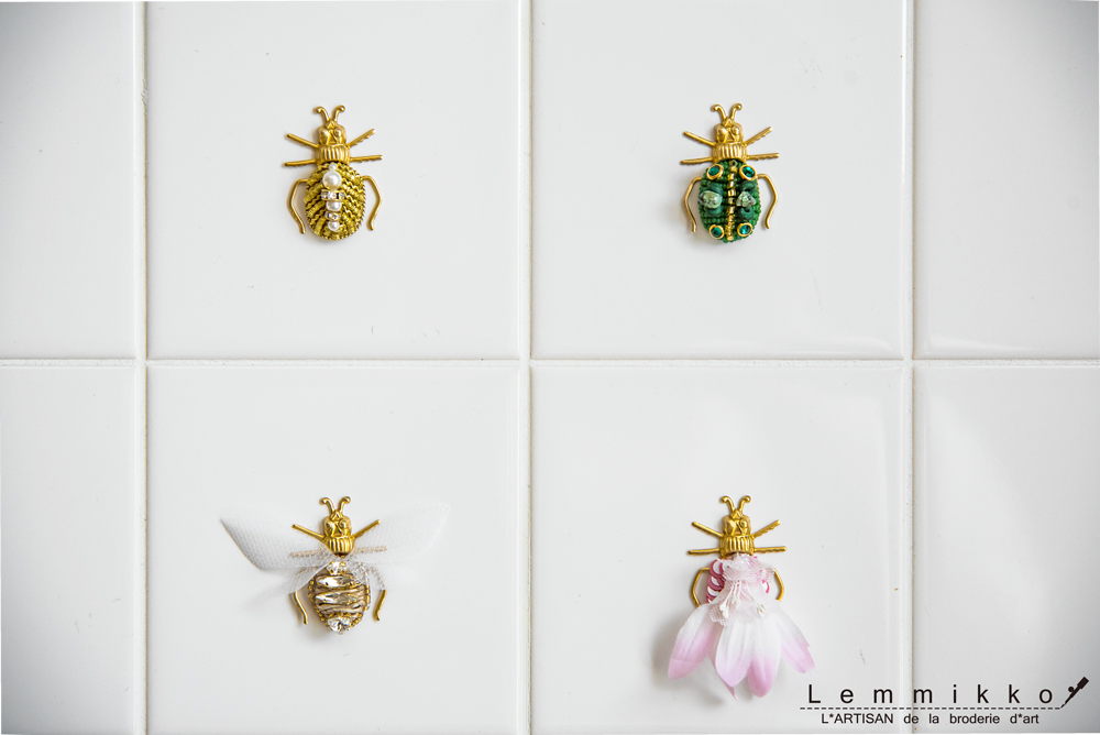 虫の刺繍ブローチ