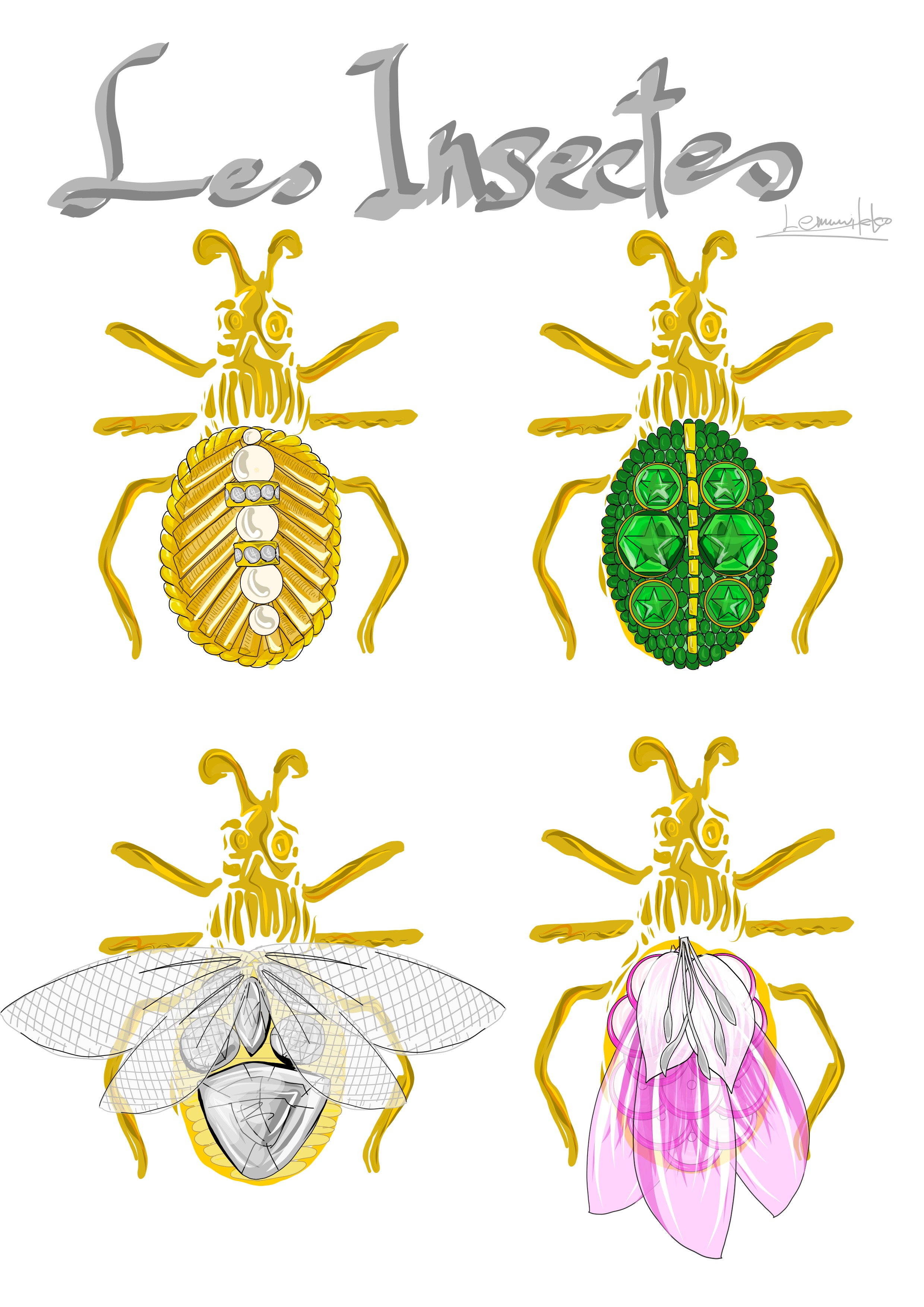 虫の刺繍の図案