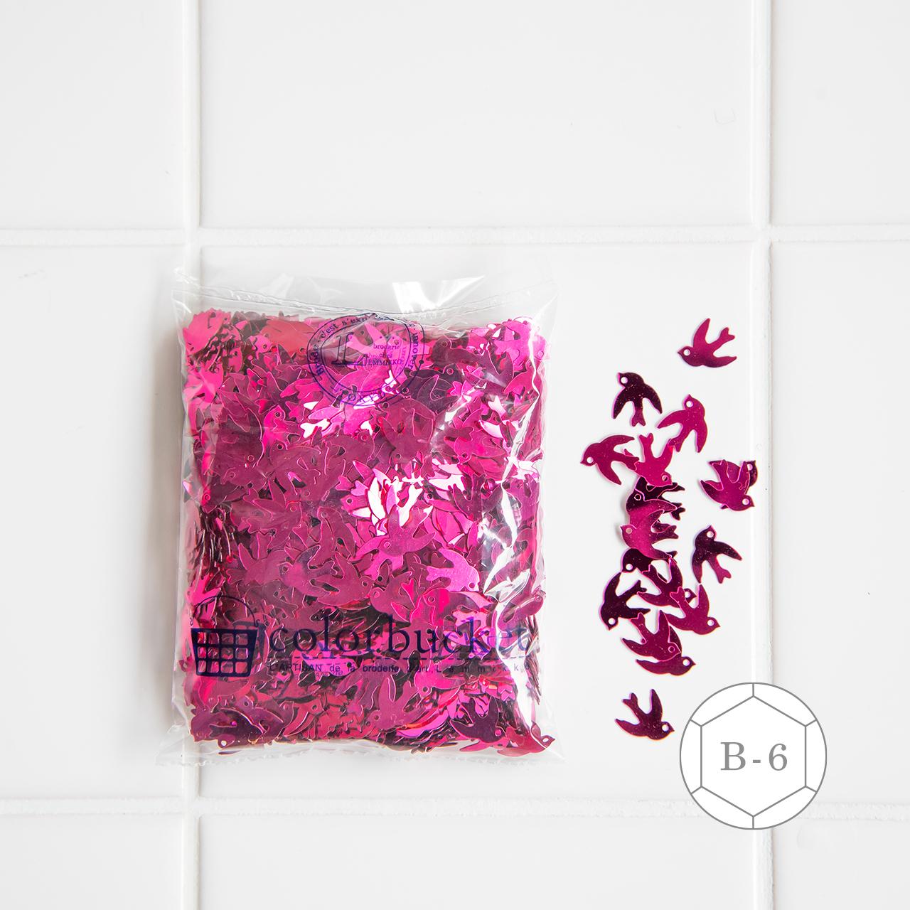 ピンクの鳥形のスパンコール