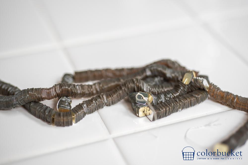 刺繍のパーツ材料ゴールドの四角のスパンコール