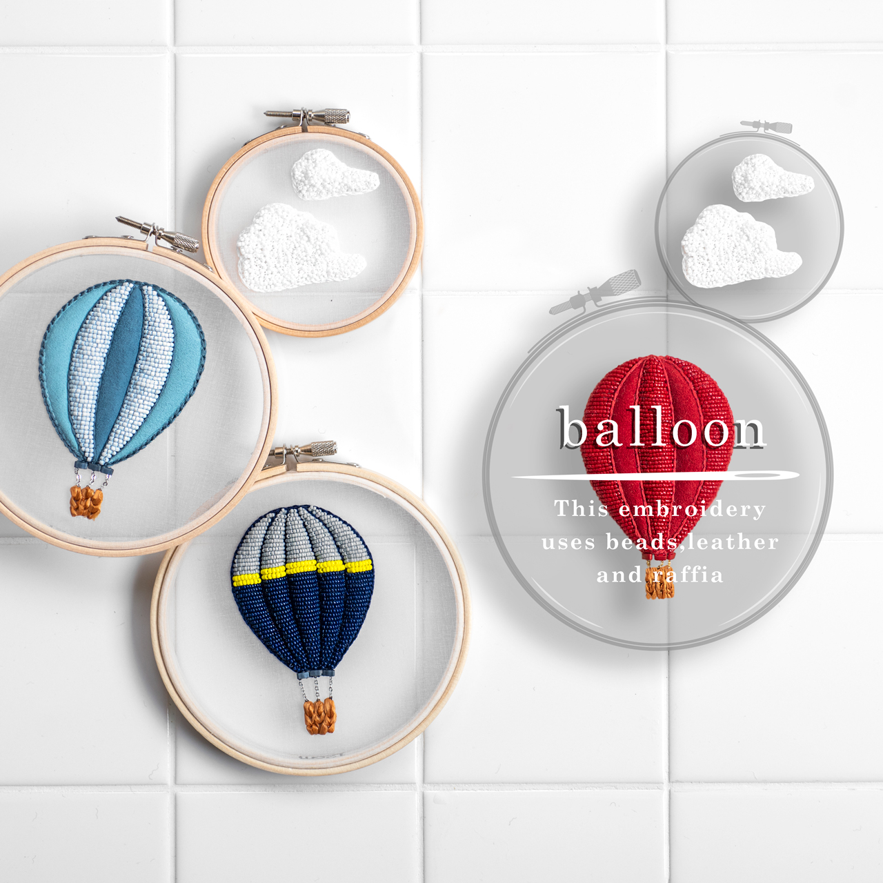 気球の刺繍