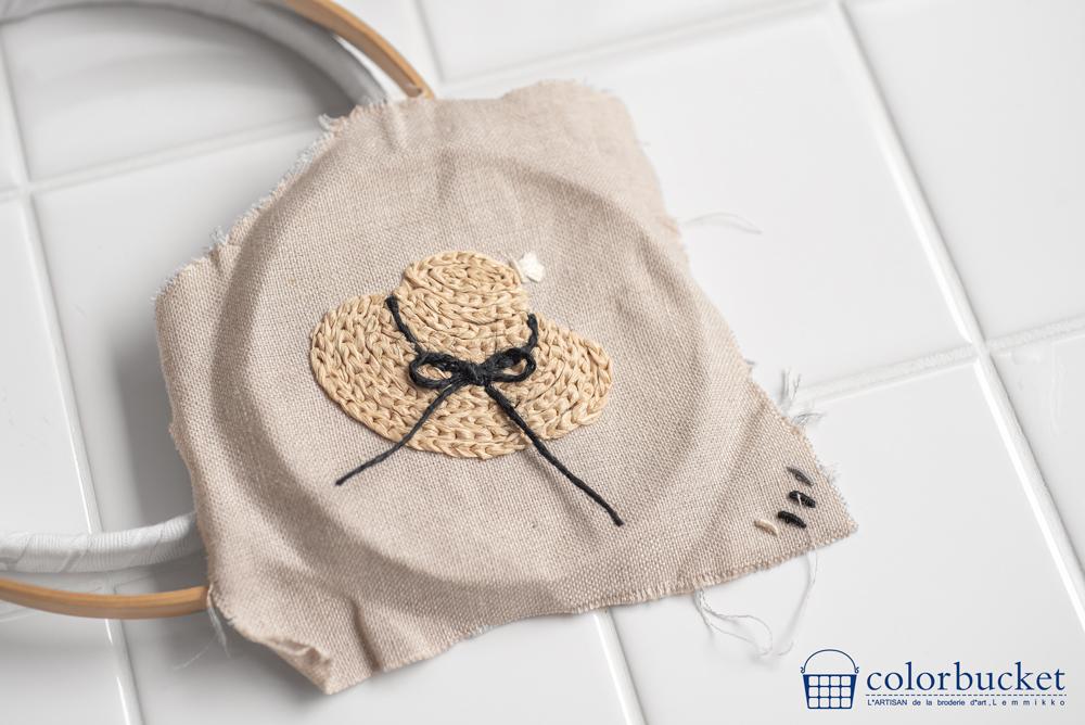 麻布に麦わら帽子の刺繍