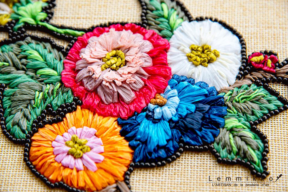 ラフィア刺繍花