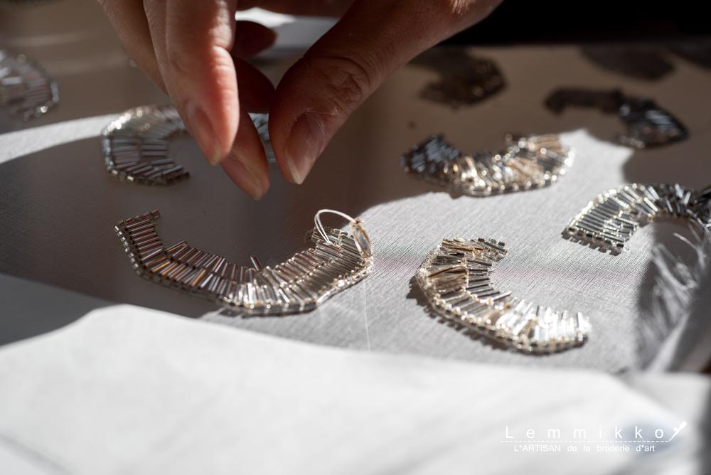 薔薇のビーズ刺繍の作り方