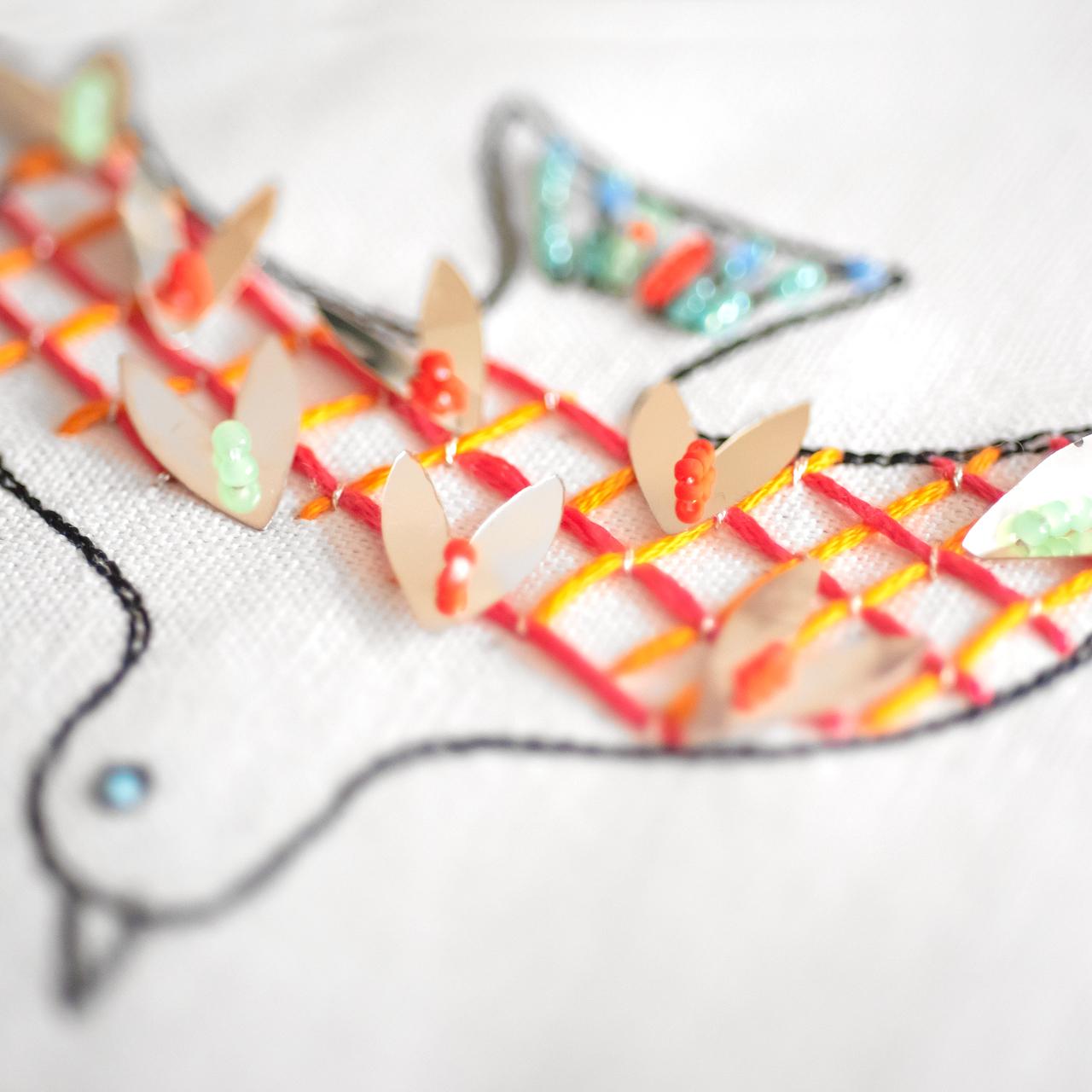 鳥のカラフルなビーズ刺繍
