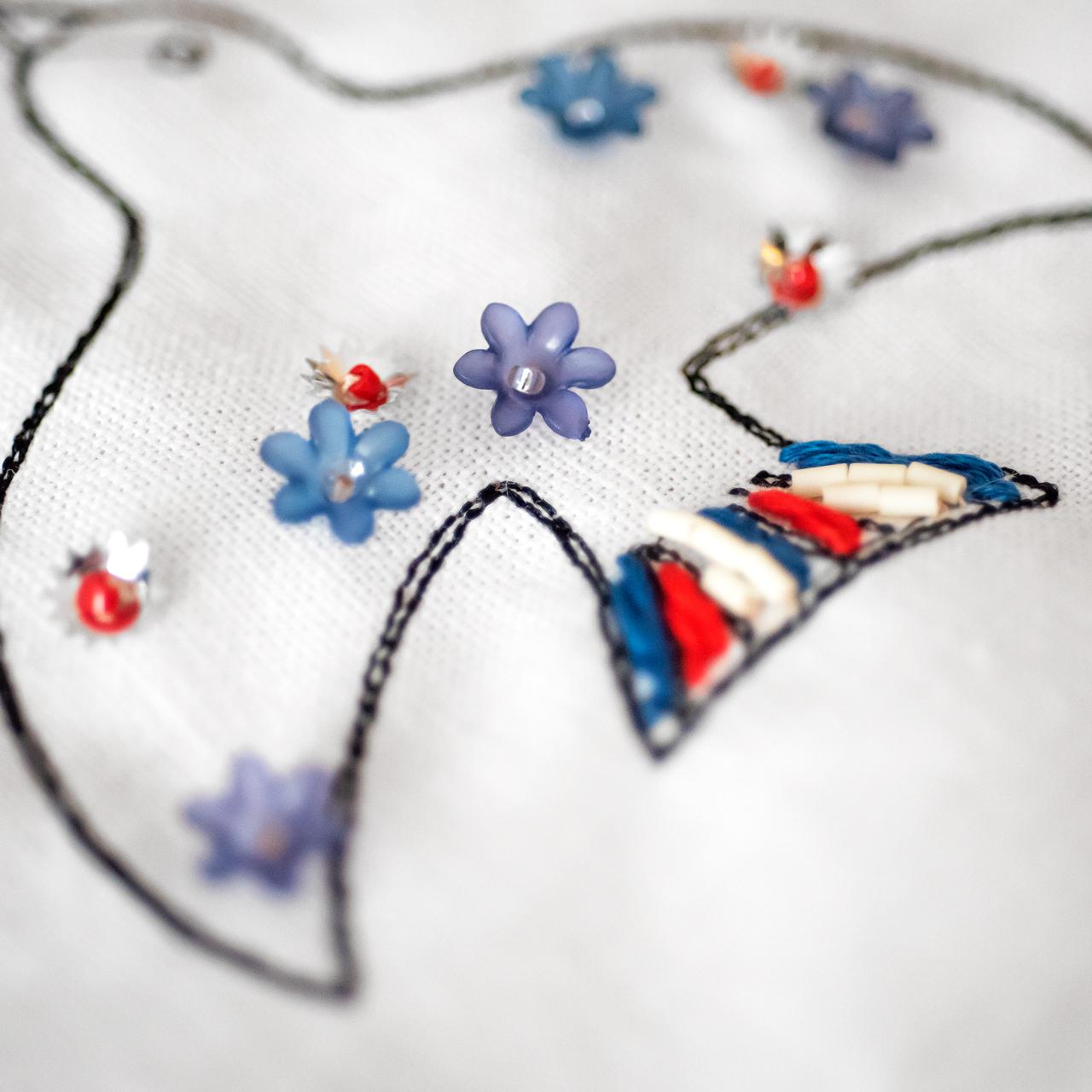 鳥の可愛いビーズ刺繍