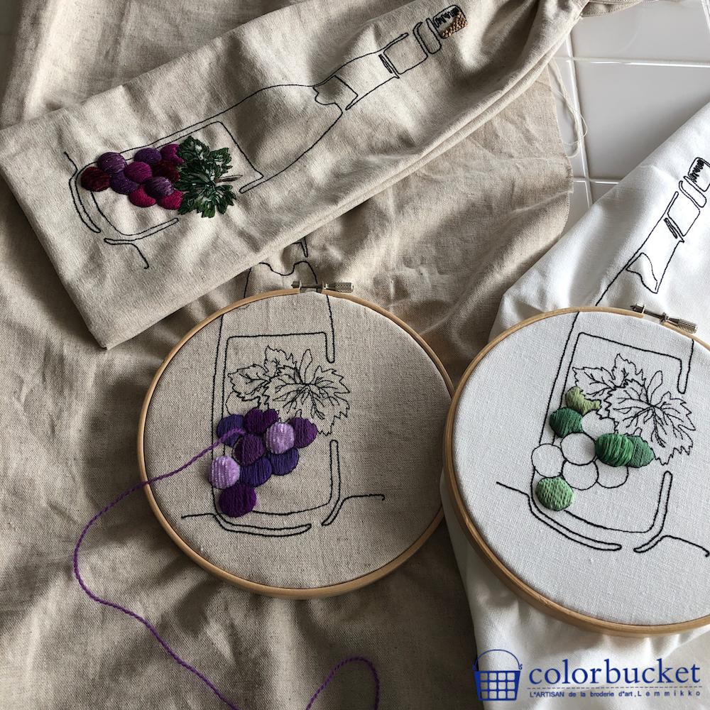 ブドウの刺繍