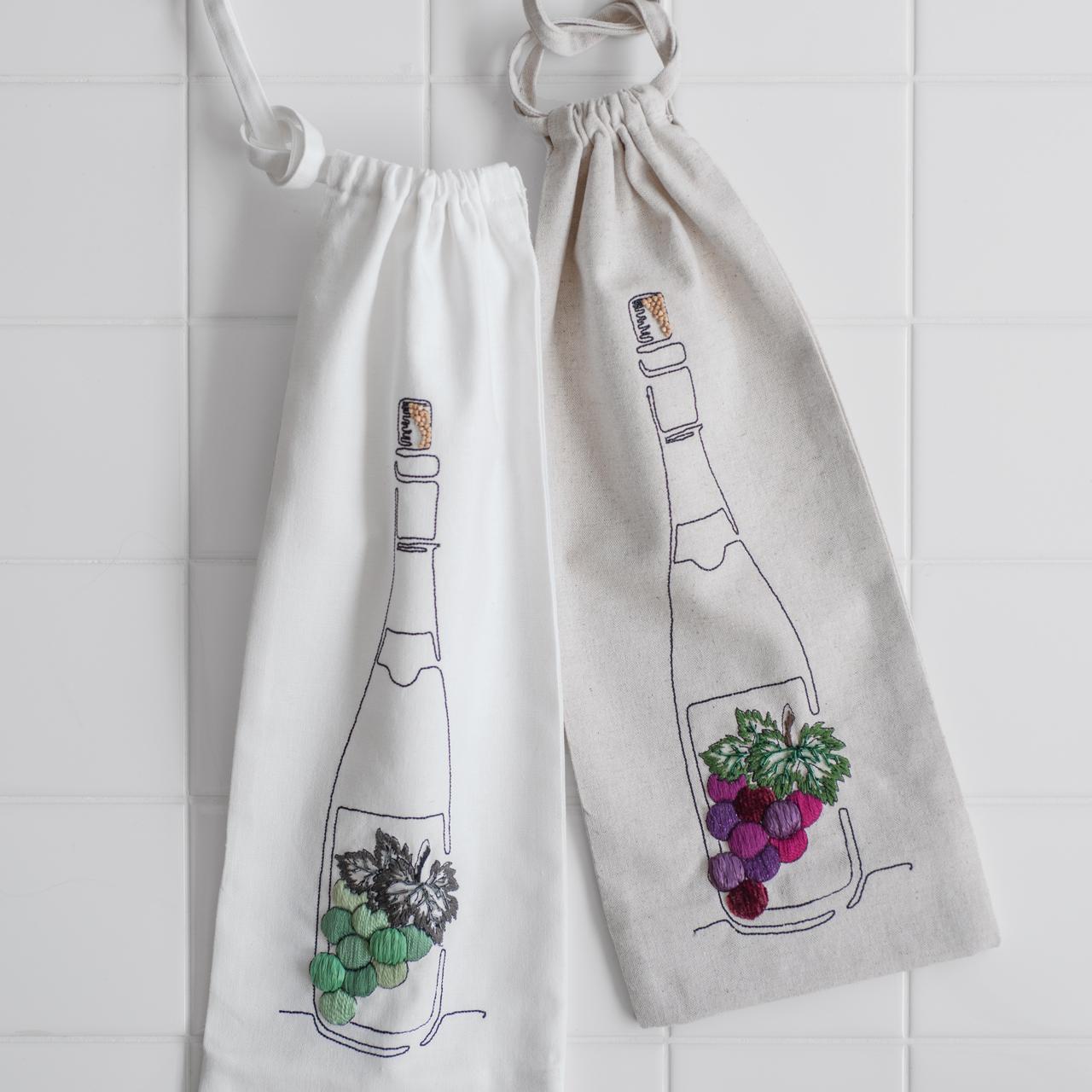 ワインボトルバッグの刺しゅうキット