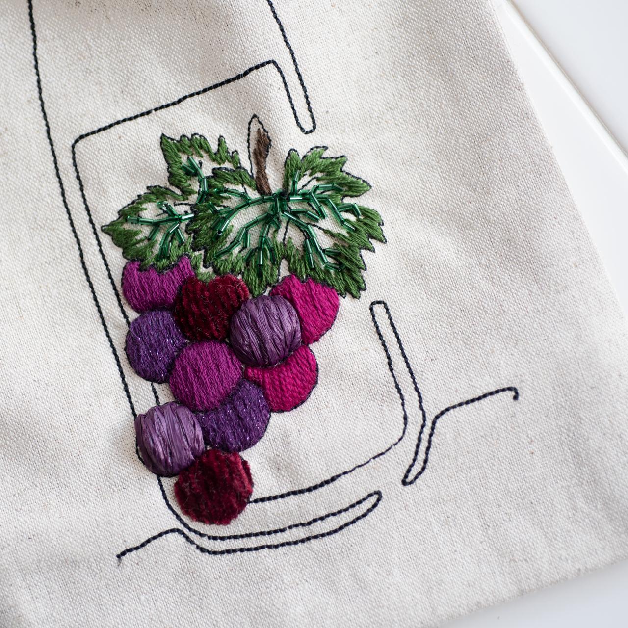 ワインボトルバッグのキットの刺繍