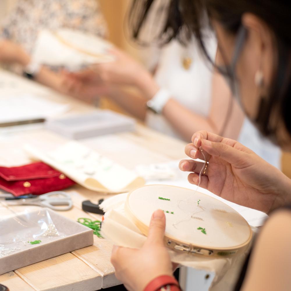 刺繍のステッチのワークショップ
